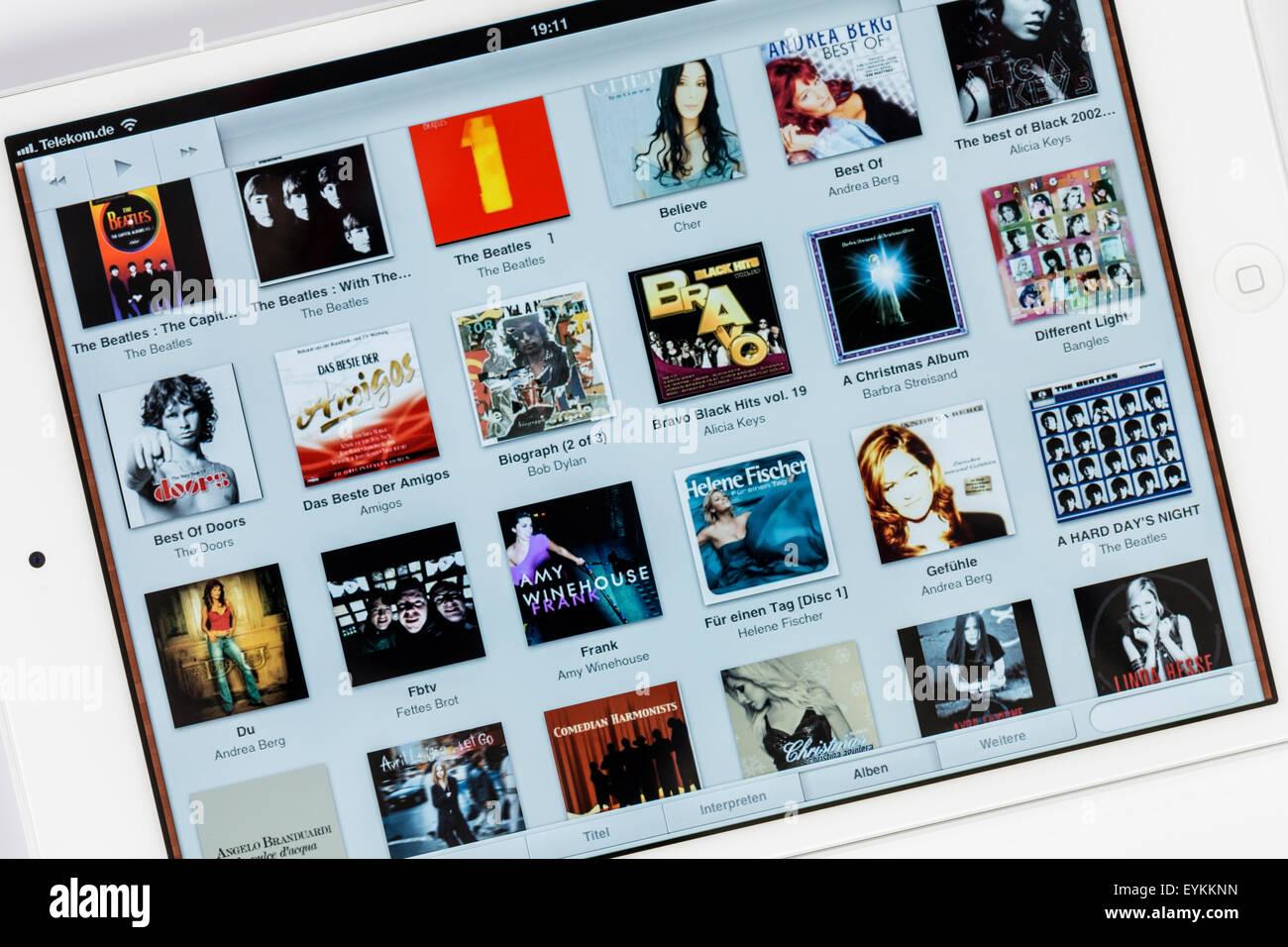 Apple iPad mini, pantalla, música iPad ext., programa multi-función de aire, detalle Imagen De Stock