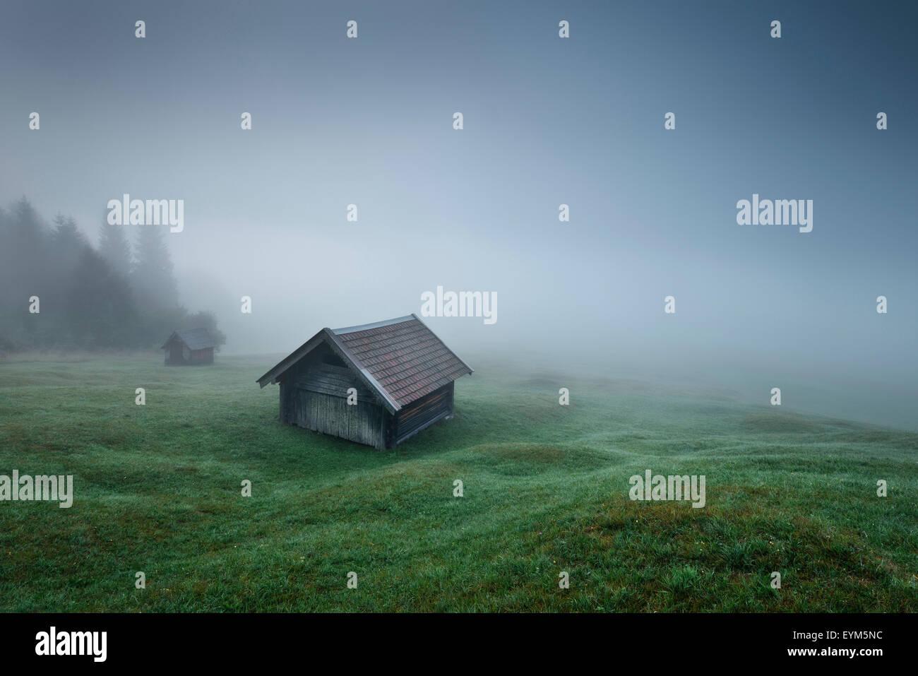 Cabaña, thriller, los Alpes, las montañas, el país natal, niebla, madera, pradera, gloomily, oscuramente, Imagen De Stock