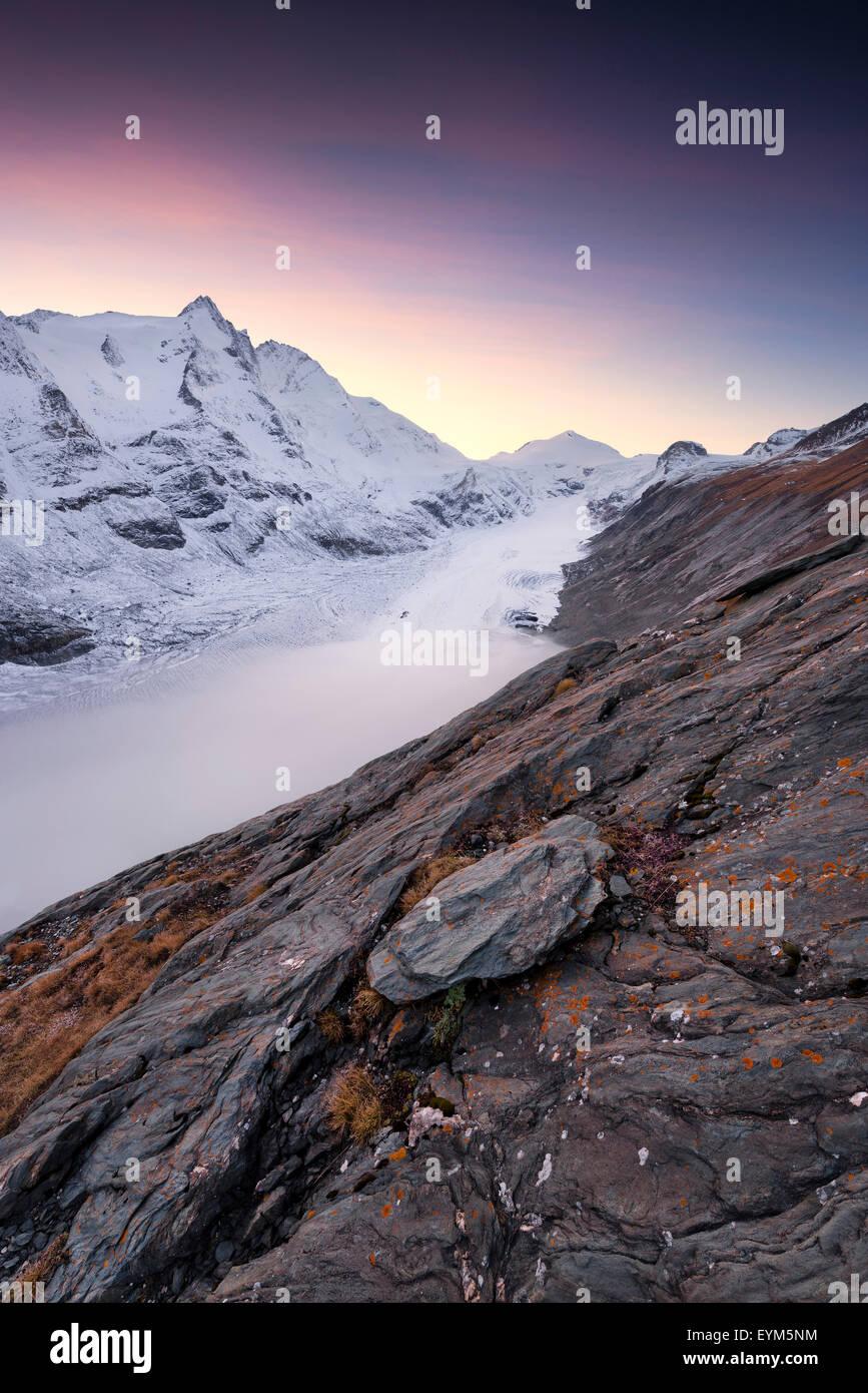 Großglockner, Pasterze, glaciar, niebla, humor, roca, nieve, los Alpes, las montañas, Imagen De Stock