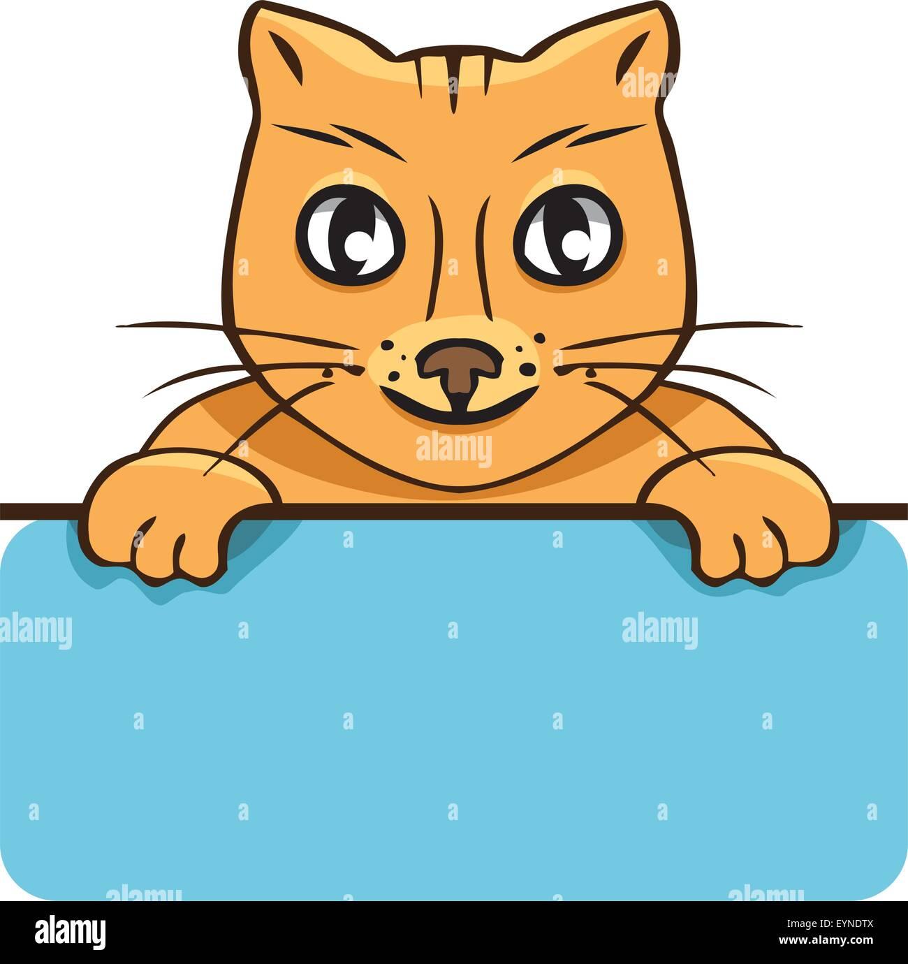 Cartoon vectores cat con un cartel sobre un fondo blanco. Imagen De Stock