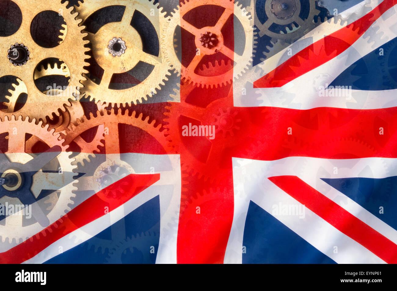 Ingeniería y fabricación británica - Bandera del Reino Unido. Imagen De Stock