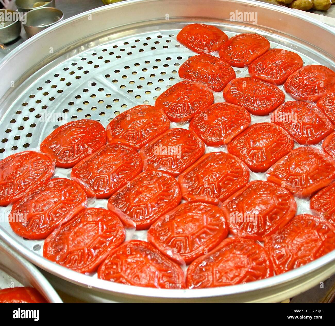 Pegajoso arroz rojo natillas closeup en Taiwán Imagen De Stock