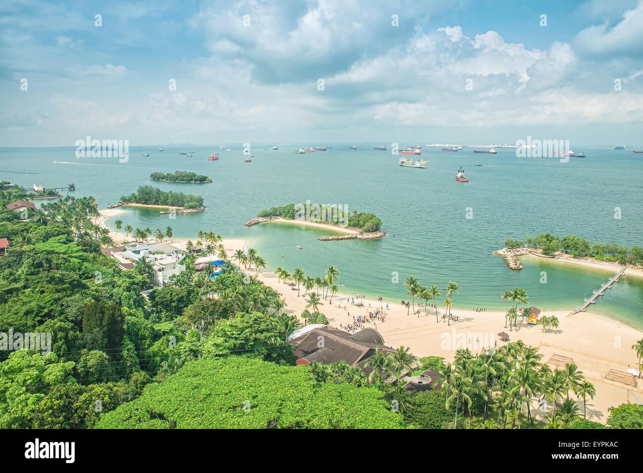 Vista aérea de la playa, en la isla de Sentosa, Singapur Imagen De Stock
