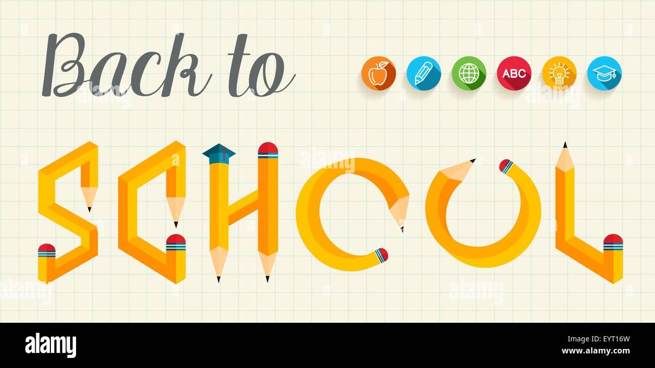 De vuelta a la escuela el banner con letras creativa forma de lápiz ...