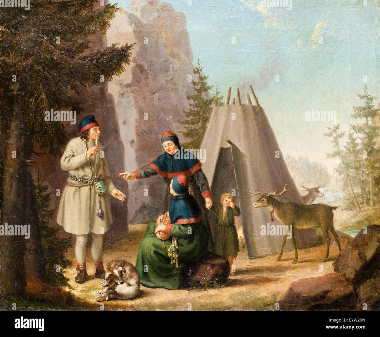 Pehr Hillestrom, los trajes de la Lapponians. Óleo sobre lienzo. Hallwylska Museum, Estocolmo, Suecia. Imagen De Stock