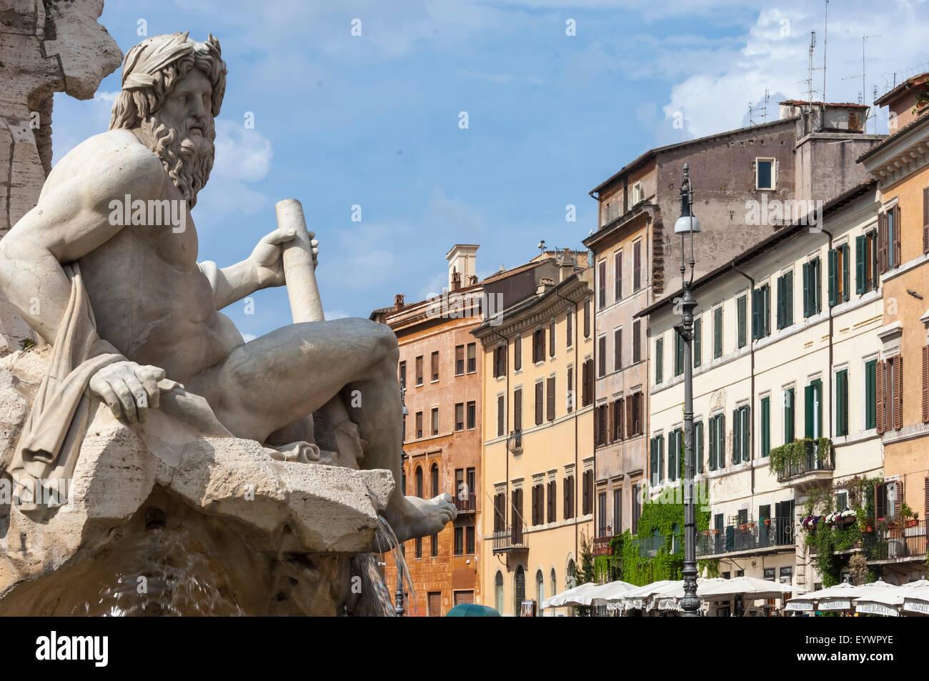 Detalle de la fuente de los Cuatro Ríos, Piazza Navona, Roma, Lazio, Italia, Europa Imagen De Stock