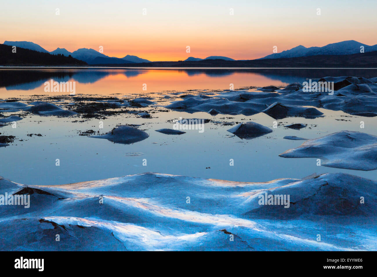 Amanecer polar, Noruega Troms Imagen De Stock