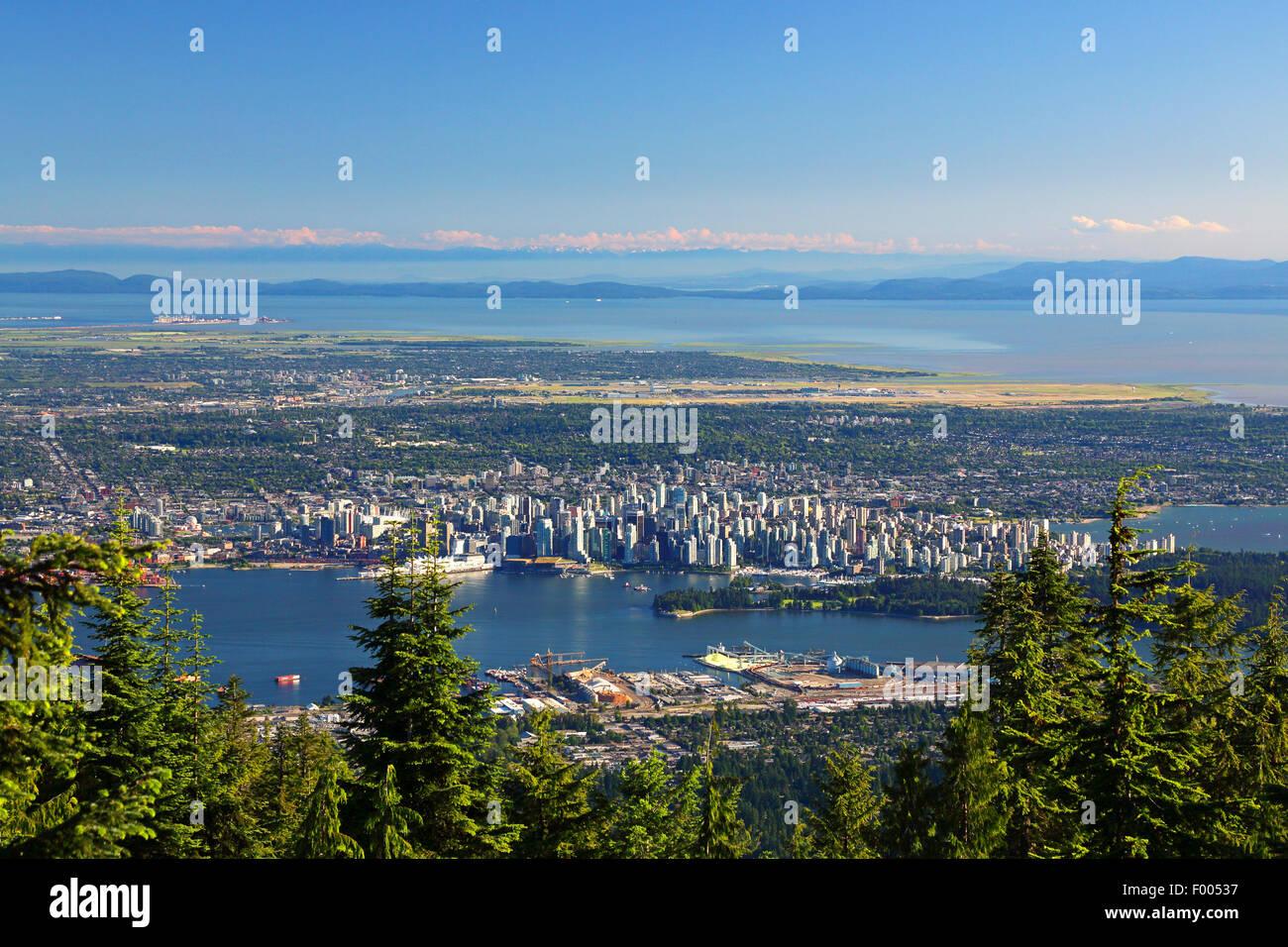 Vista desde la montaña Grouse a Vancouver, Canadá, Vancouver Imagen De Stock