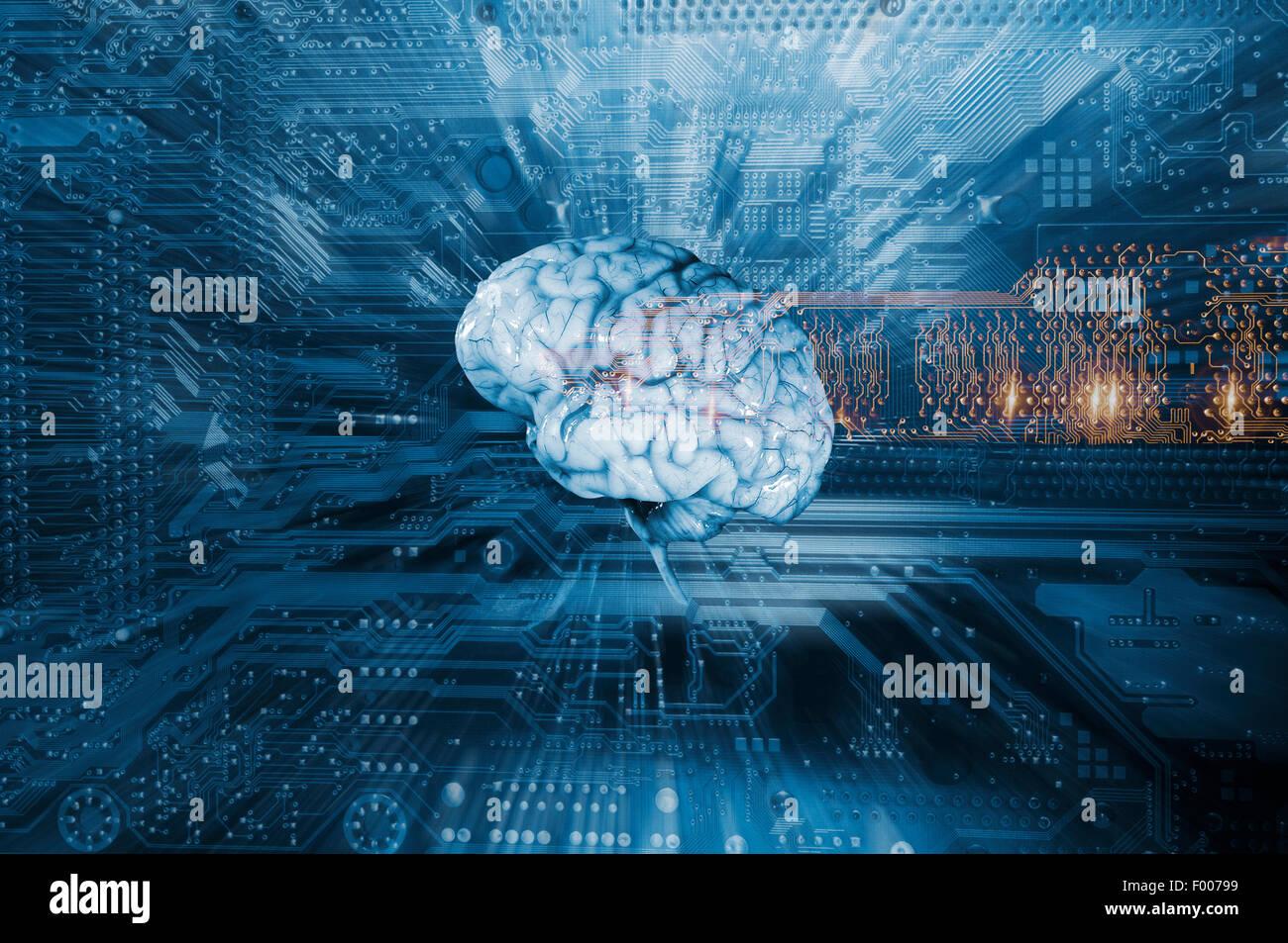 Inteligencia artificial, el cerebro humano y los ordenadores Foto de stock