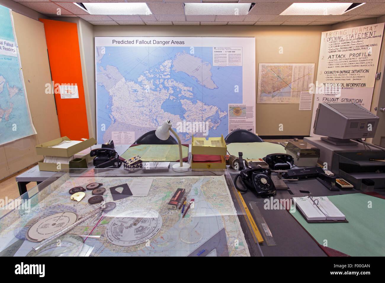 Ontario,Canadá,carpas,Diefenbunker, Canadá es el Museo de la guerra fría,sala de guerra Imagen De Stock
