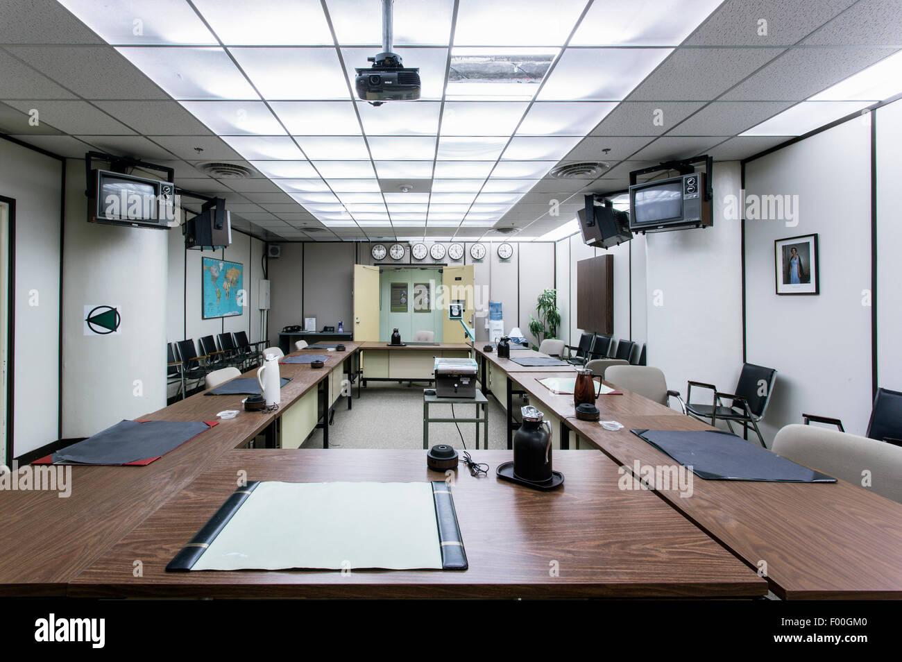 Ontario,Canadá,carpas,Diefenbunker, Canadá es el Museo de la guerra fría, sala de guerra Imagen De Stock