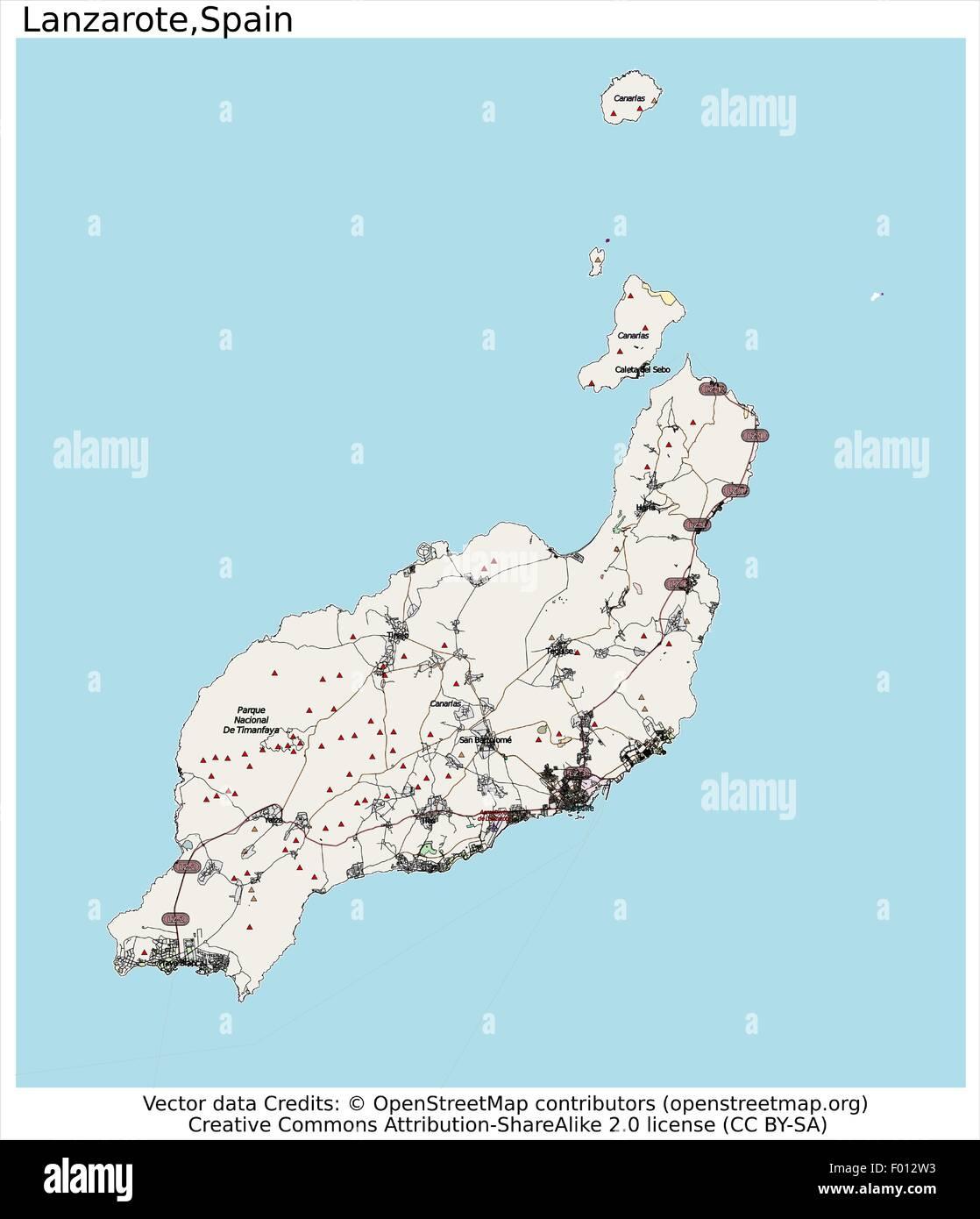Isla De Lanzarote Mapa.Isla De Lanzarote Espana Area Vista Aerea Del Mapa De La