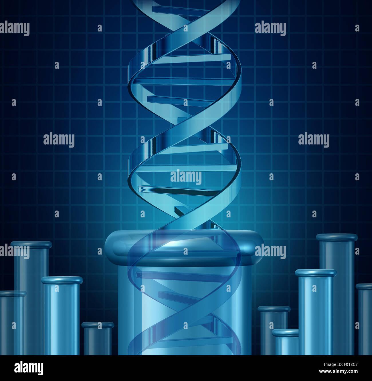 Las pruebas de ADN y la investigación genética concepto como una hélice doble vaso de ciencias como Imagen De Stock