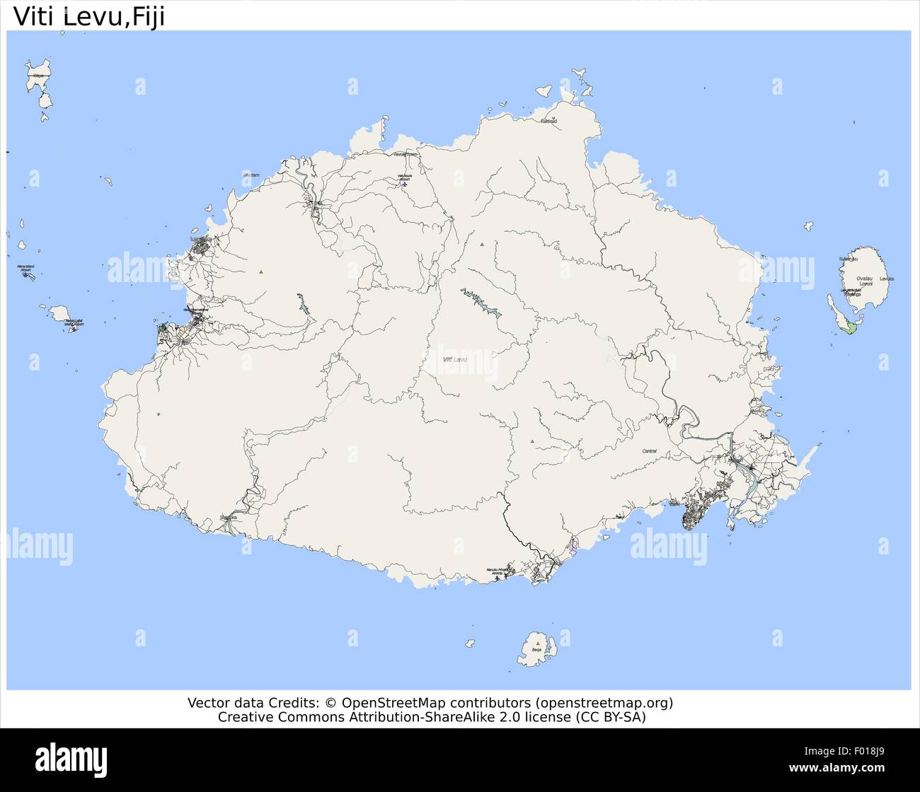 Viti Levu Islas Fiji Mapa De La Ciudad Vista Aerea