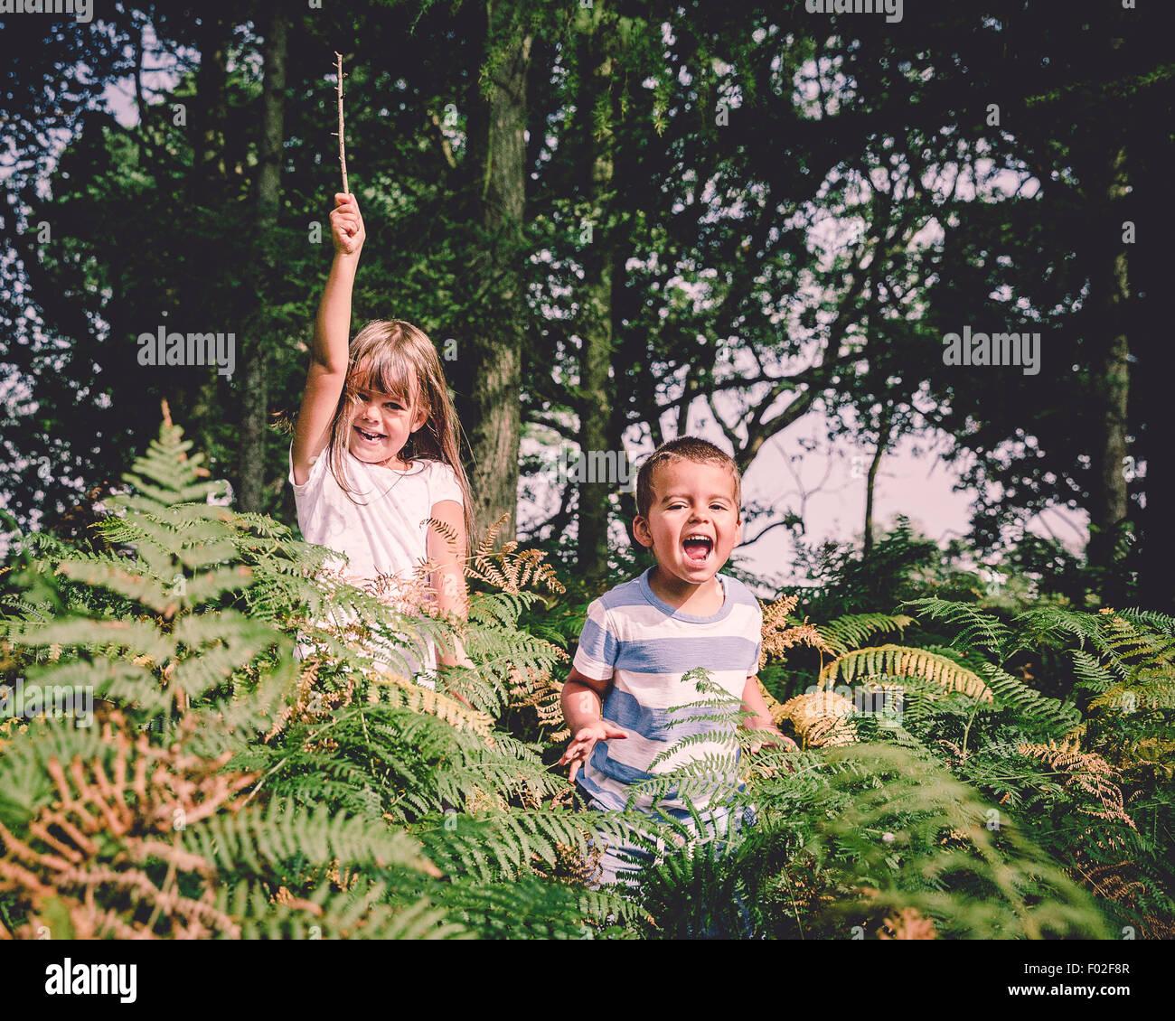 Dos niños felices saltando desde detrás de los helechos del bosque Imagen De Stock