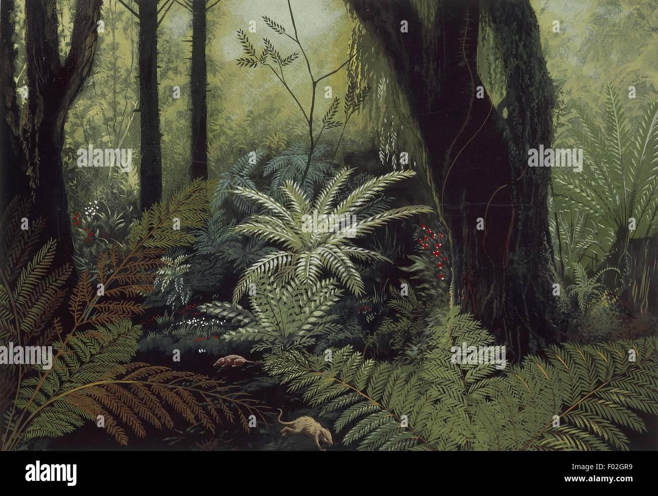 Reconstrucción de ambiente prehistórico, ilustración Foto de stock