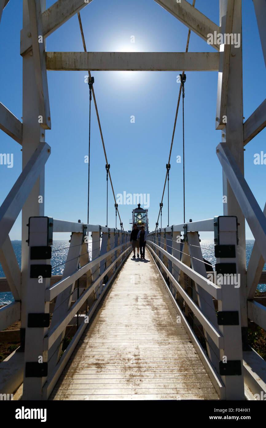 Puente colgante de faro de Punta Bonita en Marin, California Imagen De Stock