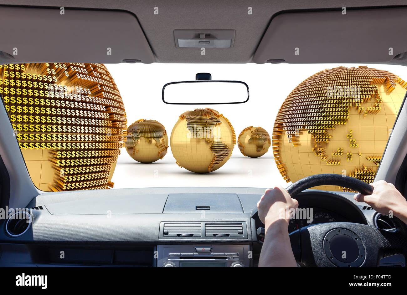 La conducción en el mundo de dinero Imagen De Stock