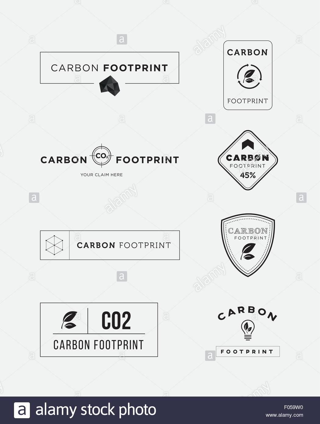 Huella de carbono logo set Imagen De Stock