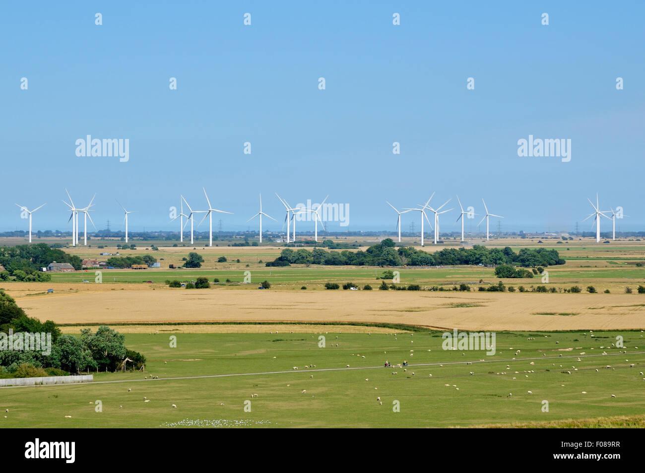 Poco Cheyne Court parque eólico en Romney Marsh, Kent, Inglaterra Foto de stock