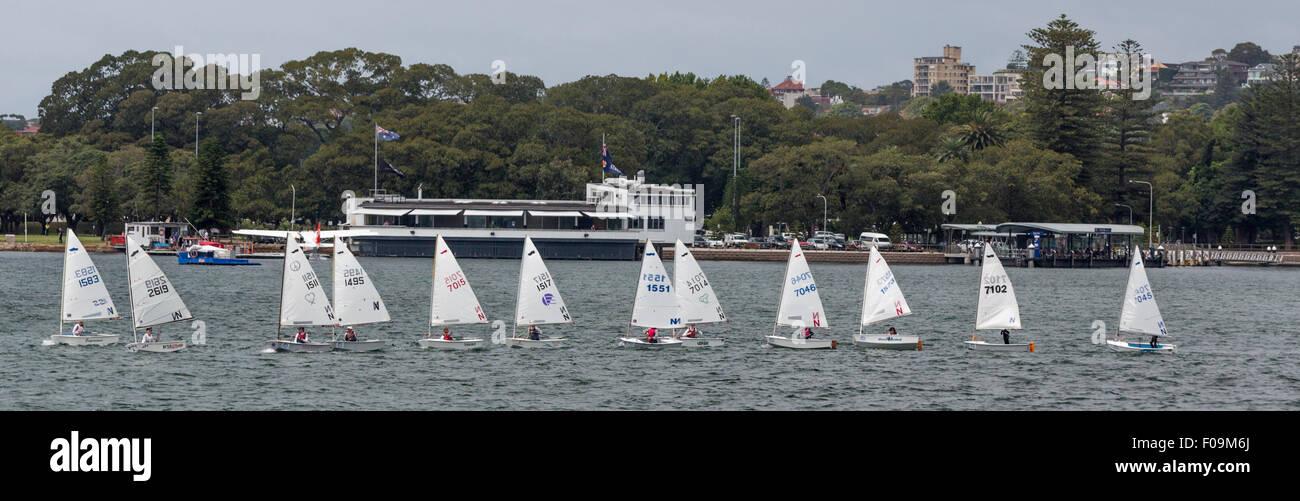Una docena de veleros en una fila en una clase de vela, Rose Bay, el puerto de Sydney, Australia Foto de stock