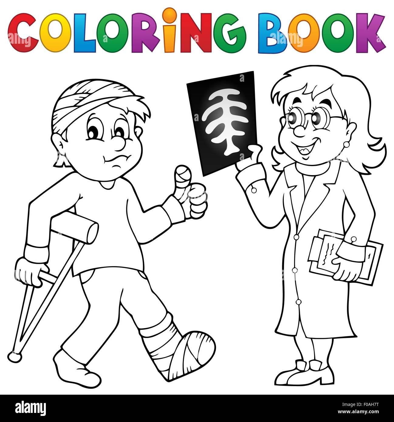 Libro para colorear doctor asistir paciente - fotografía ilustración ...