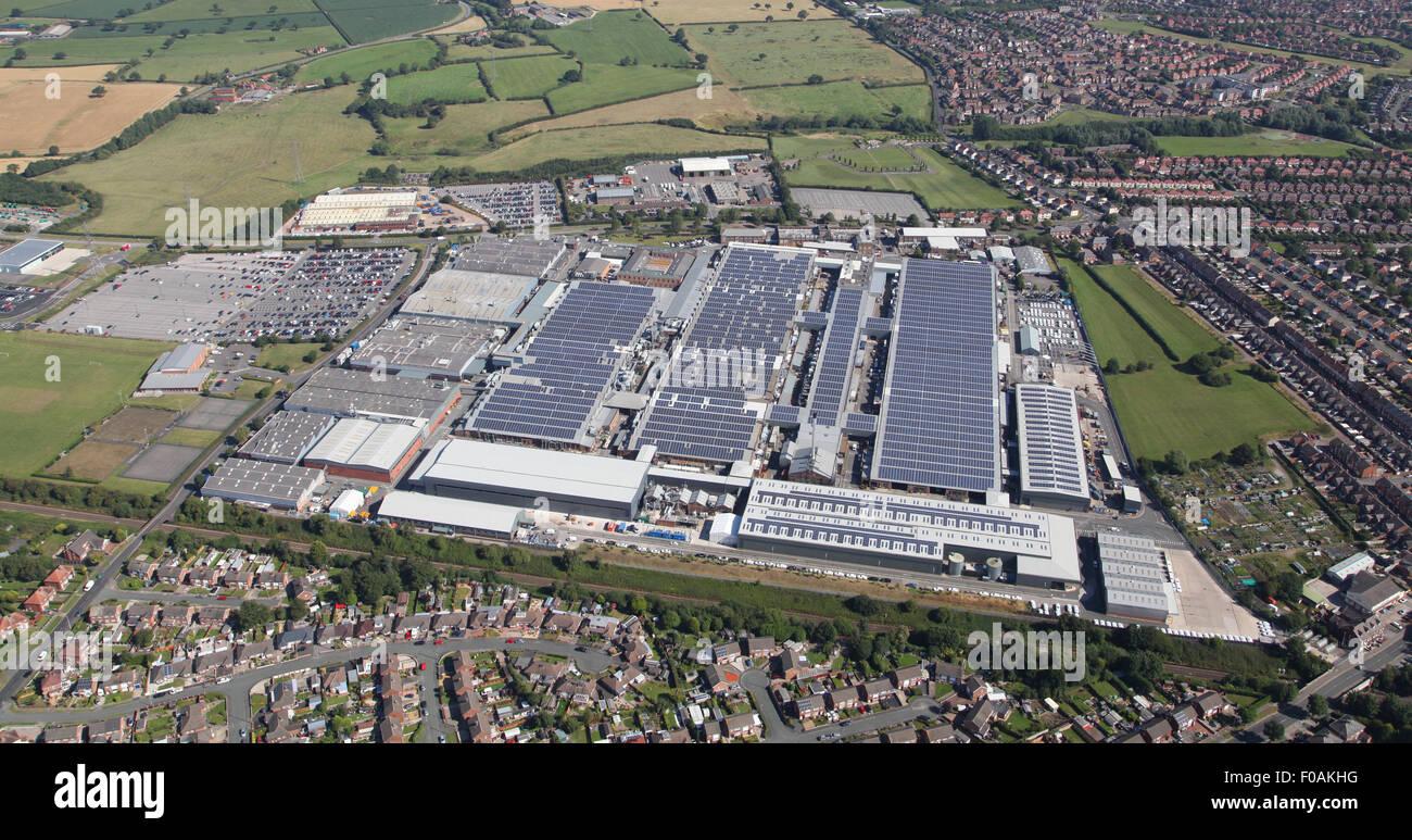 Vista aérea de la Bentley Motors fábrica de producción de coches de lujo en Crewe, Cheshire, Reino Imagen De Stock