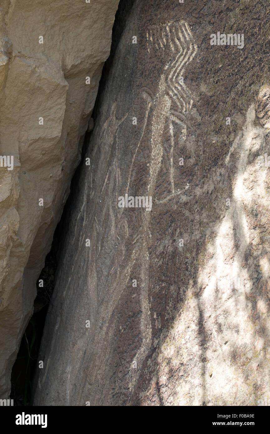 Los seres humanos petroglifos Qobustan Azerbaiyán Imagen De Stock