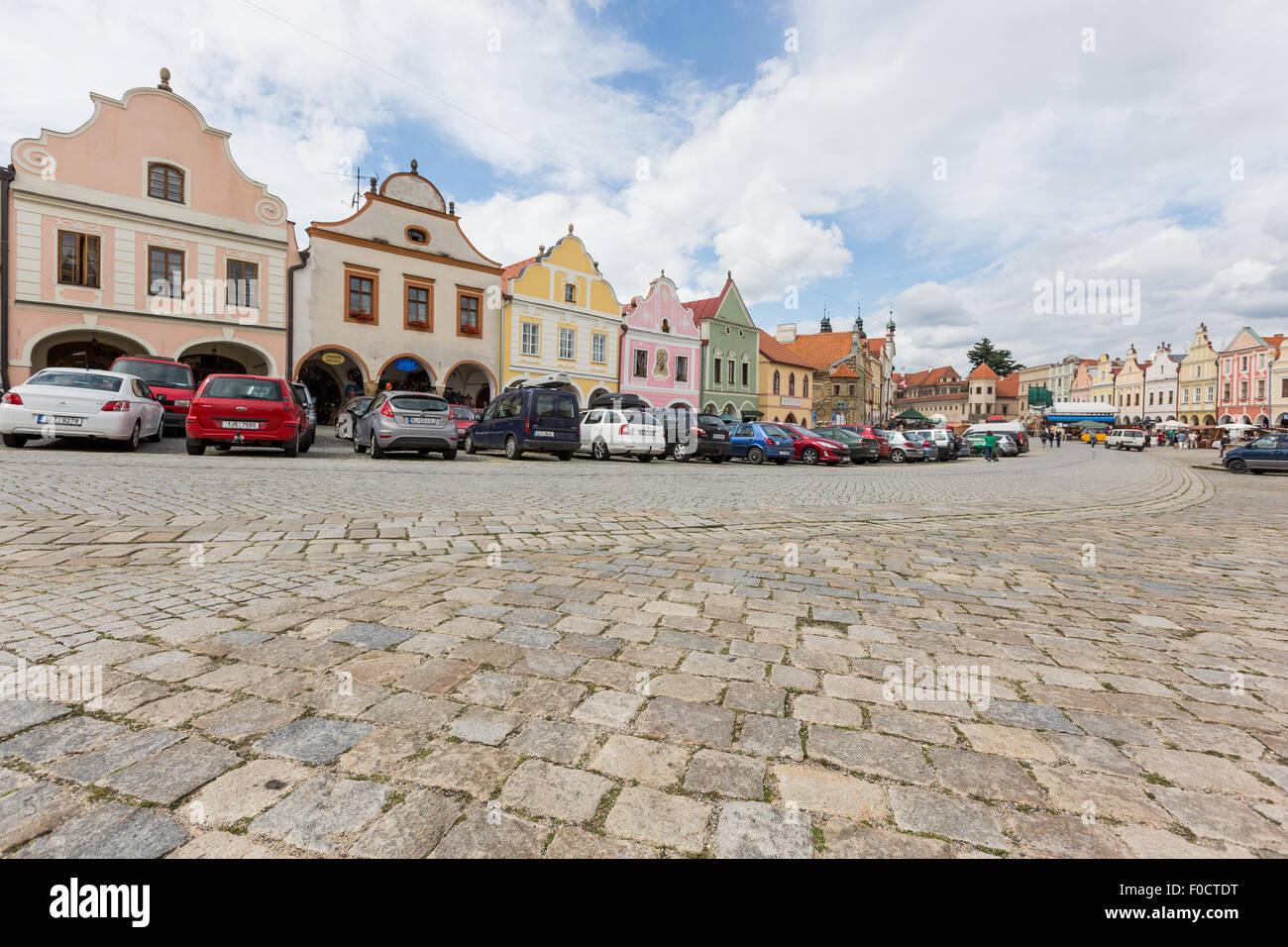 ,Telc,renesance,la UNESCO,ciudad histórica,la ciudad,el centro de la ciudad,Moravia,Moravia,arquitectura,Moravia,edificios,turismo Imagen De Stock