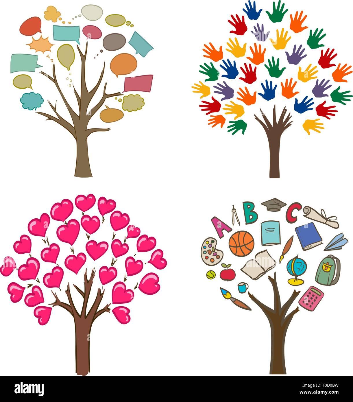 Conjunto De Dibujos Conceptuales Con árboles El Amor El Mensaje
