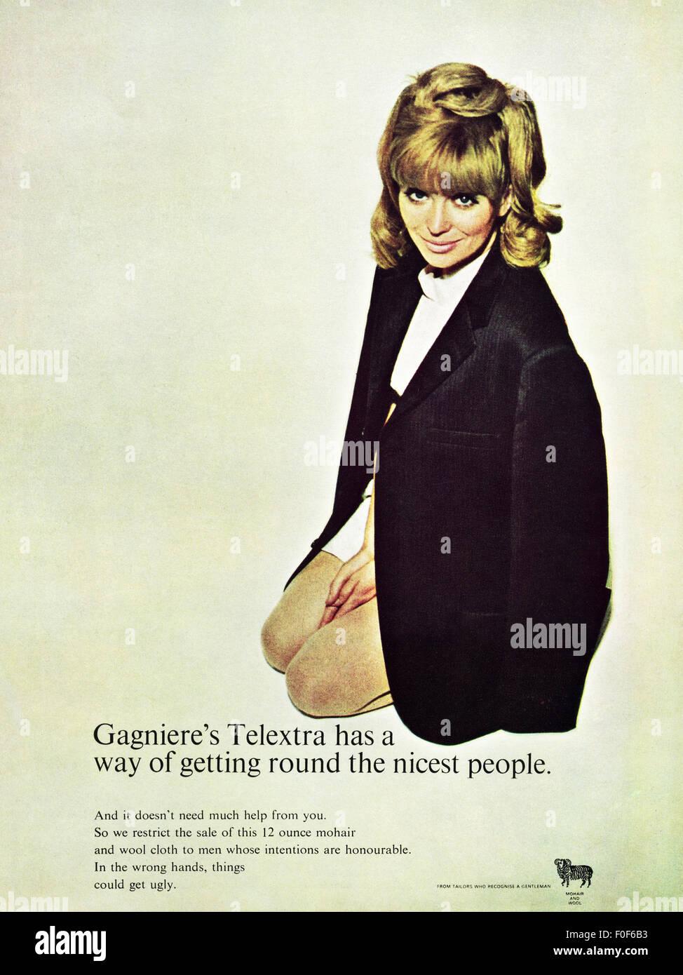 1960 Anuncio. Magazine fecha de 1968 anuncio publicitario del Gagniere Telextra mohair y lana 60s moda retro Imagen De Stock