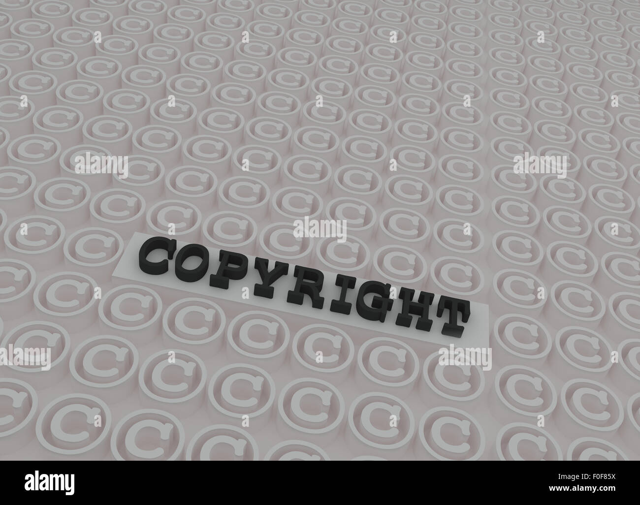 Negro 3d texto de copyright en la plataforma 3d interior copyright símbolos en blanco. Foto de stock