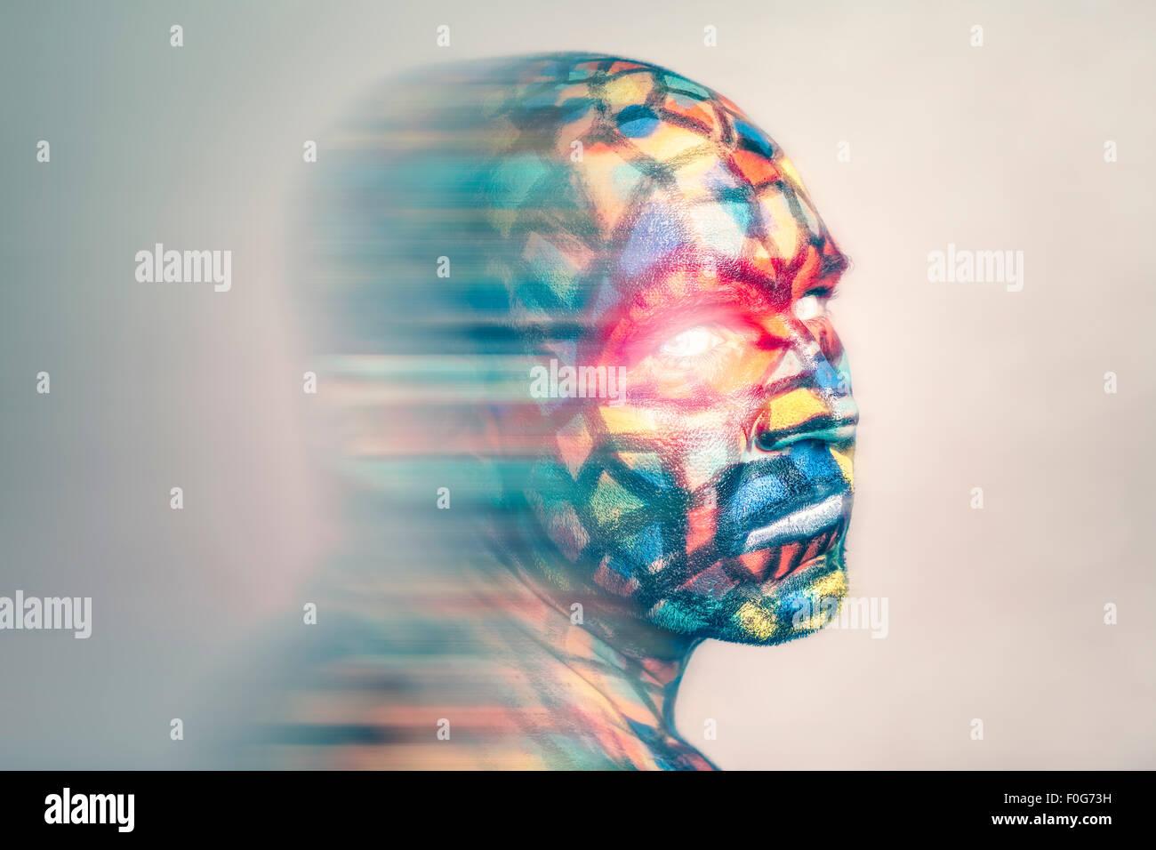 Retrato del superhéroe, colorido arte facial con efecto de desenfoque de movimiento. Foto de stock