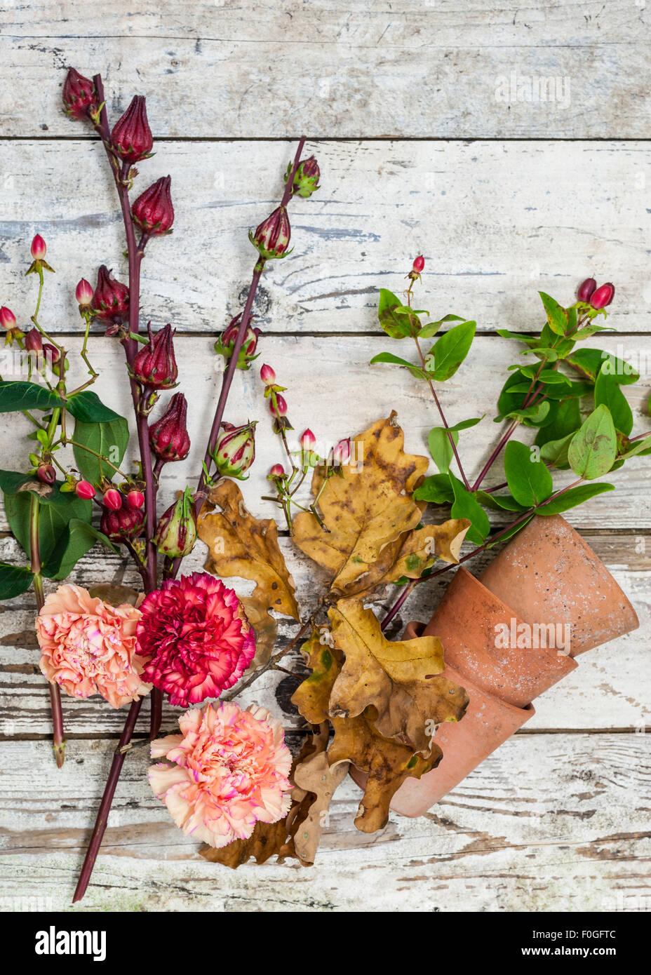 Otoño de flores y frutos en una superficie rústica Imagen De Stock