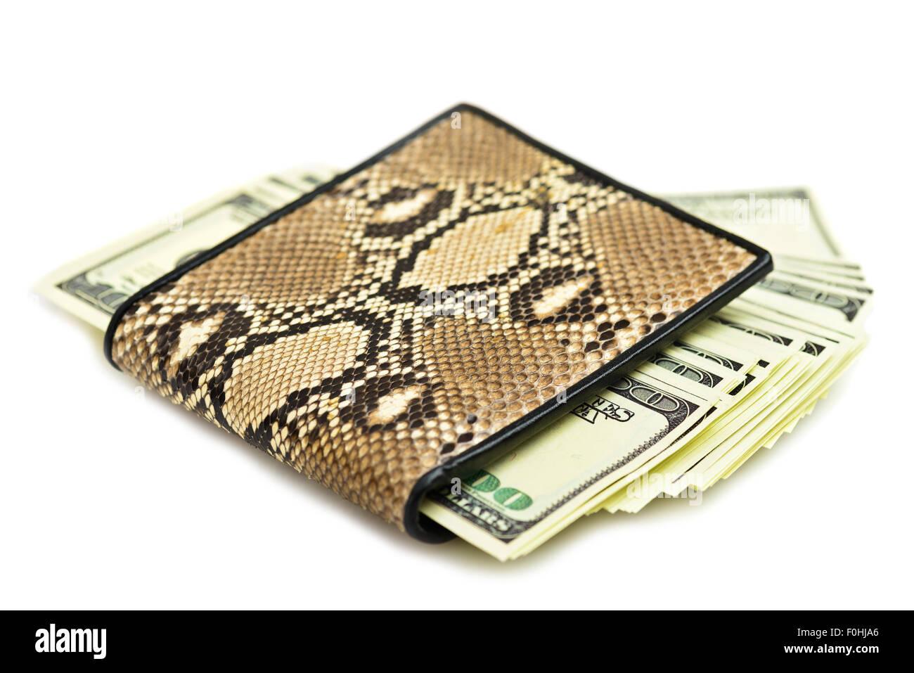 Dinero en el monedero de piel de serpiente aislado sobre fondo blanco. Imagen De Stock