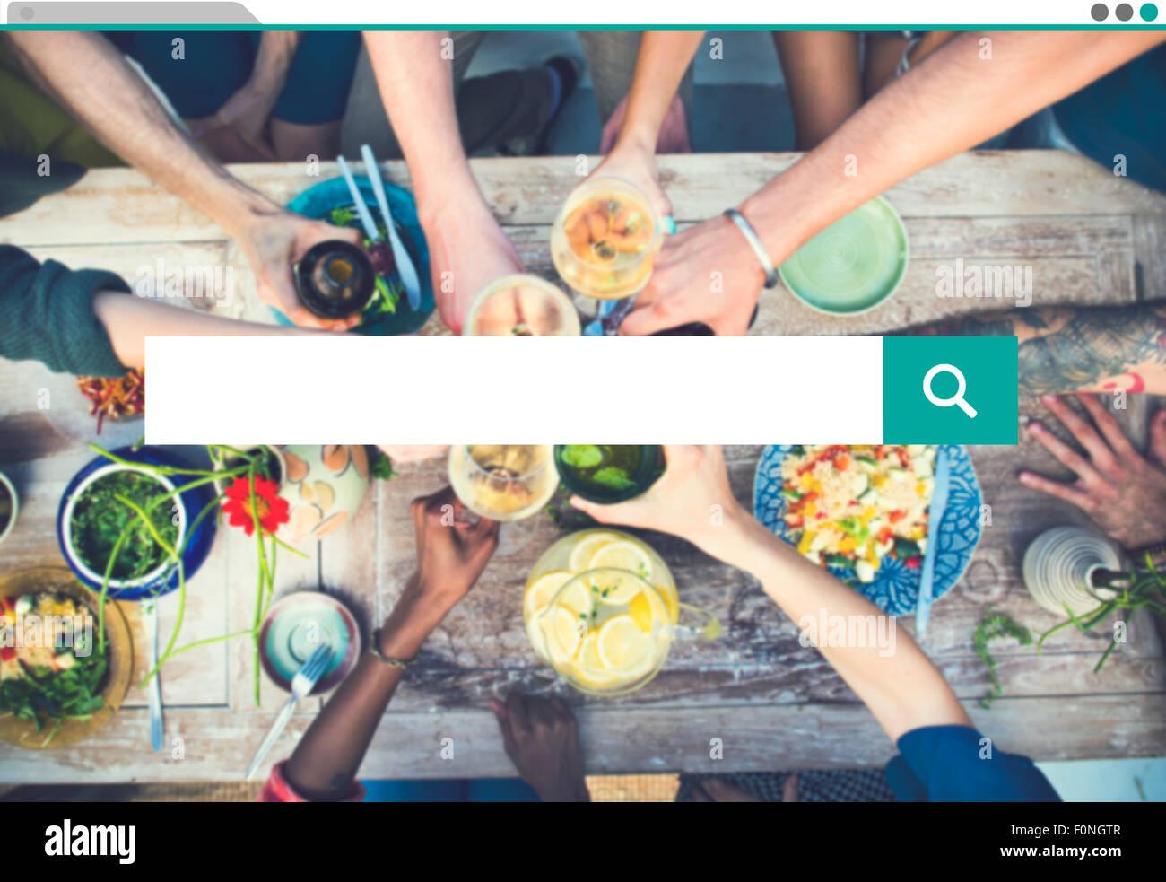Búsqueda la búsqueda de información concepto de acceso compartido a Internet Imagen De Stock