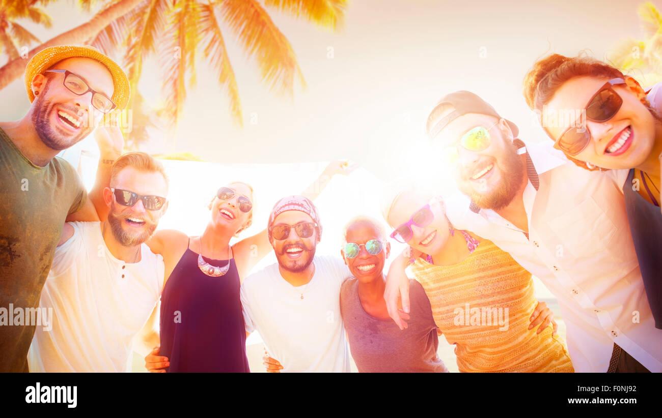 Amigos amistad Vacaciones convivencia divertido concepto Imagen De Stock