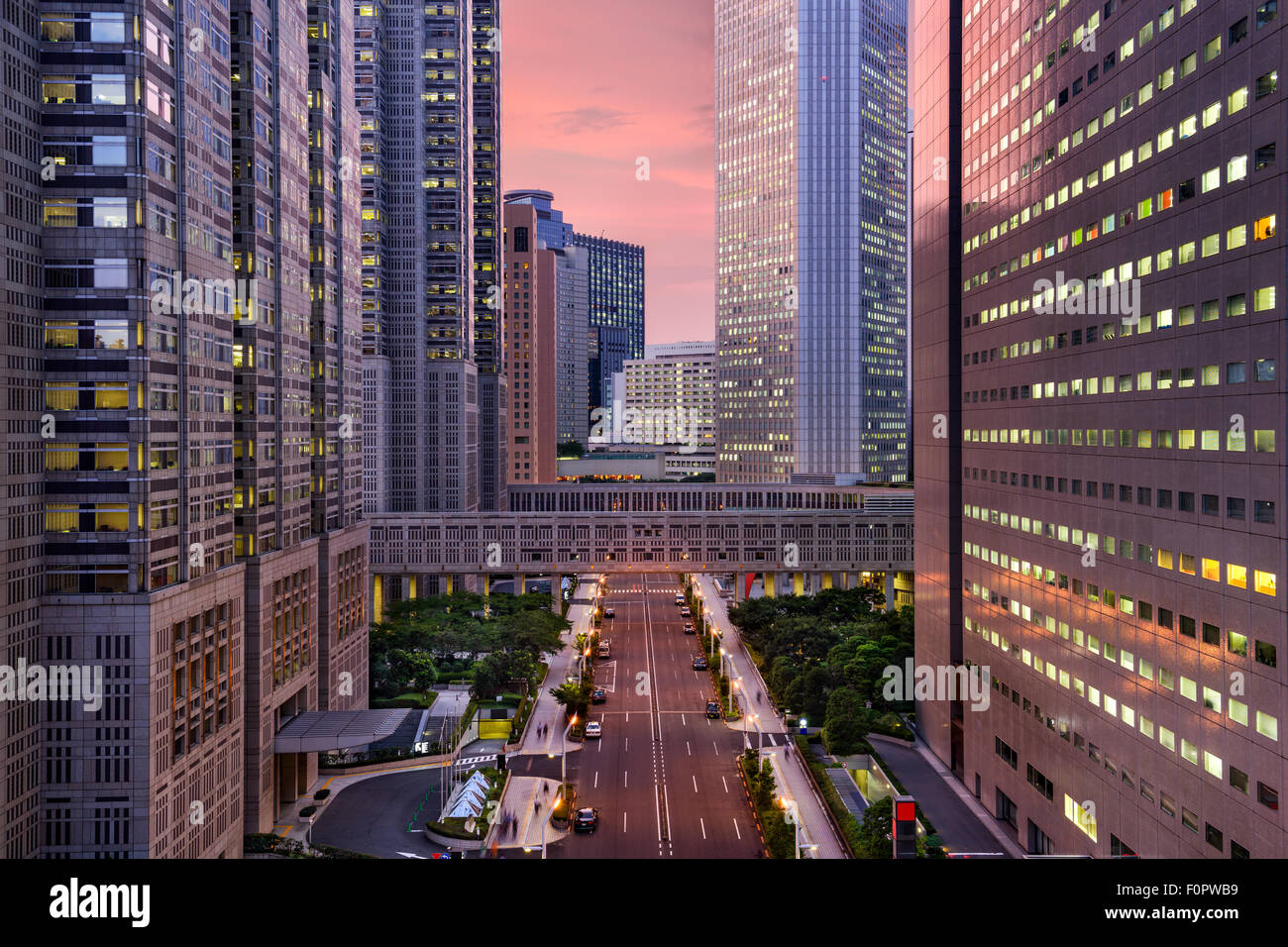 Gobierno Metropolitano de Tokio (Japón), la construcción del paisaje urbano en Shinjuku Ward. Imagen De Stock