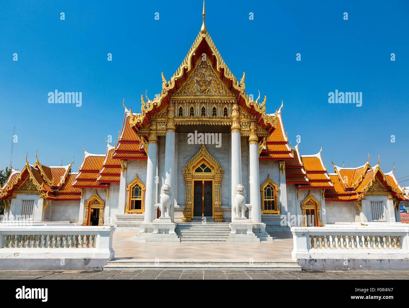 Tailandia, Bangkok, Wat Benchamabophit (templo de mármol) Imagen De Stock
