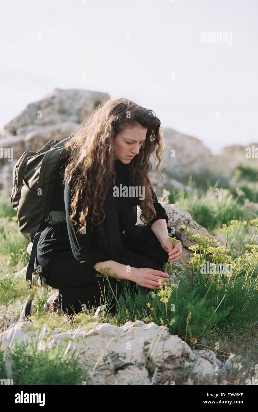Una mujer recogiendo flores silvestres. Imagen De Stock