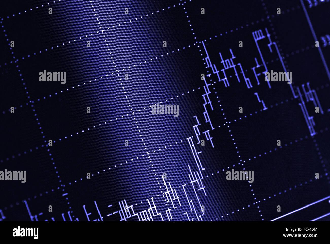 Bolsa gráfico sobre fondo azul. Imagen De Stock