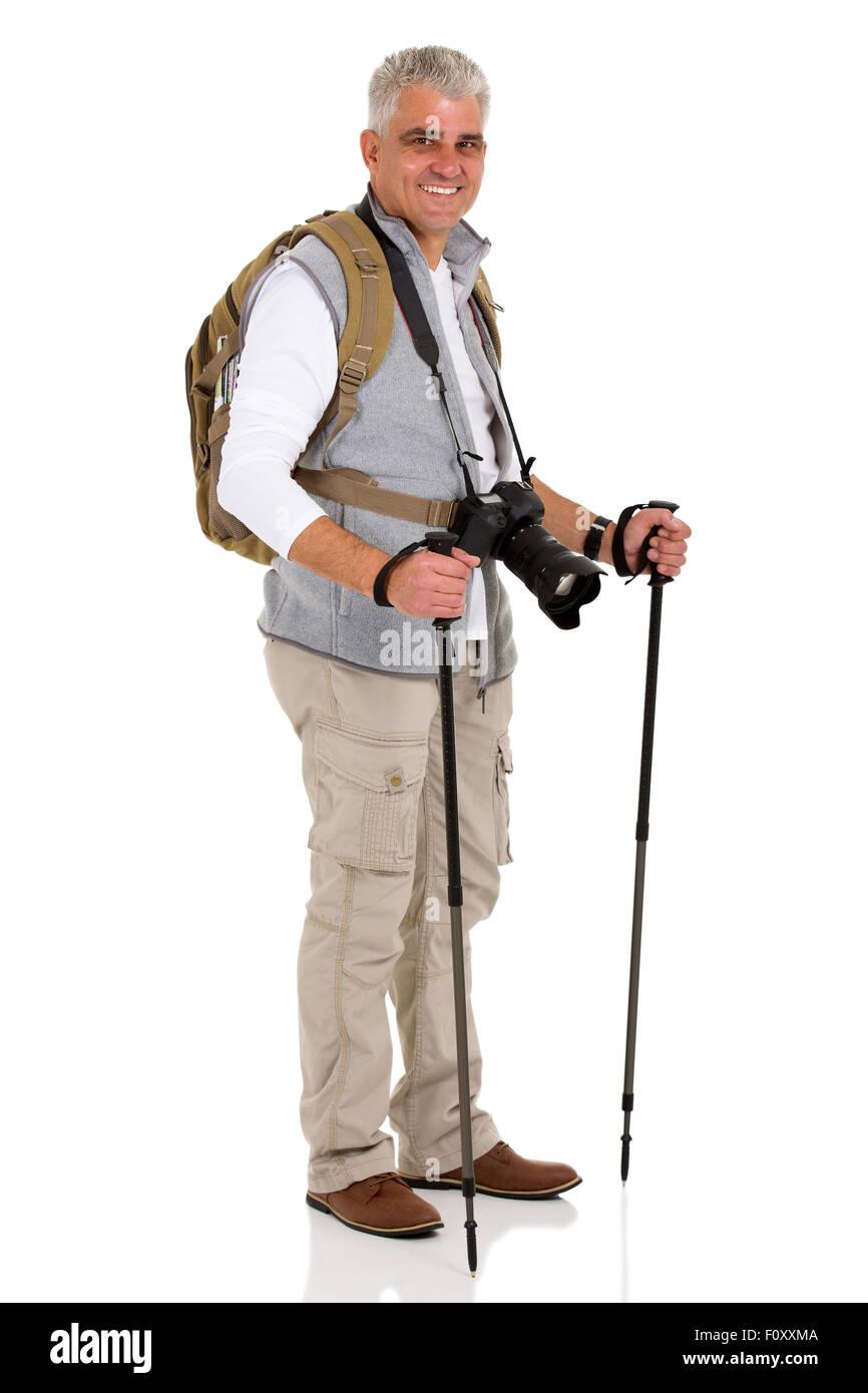 Turista sanos masculinos de pie sobre fondo blanco. Imagen De Stock