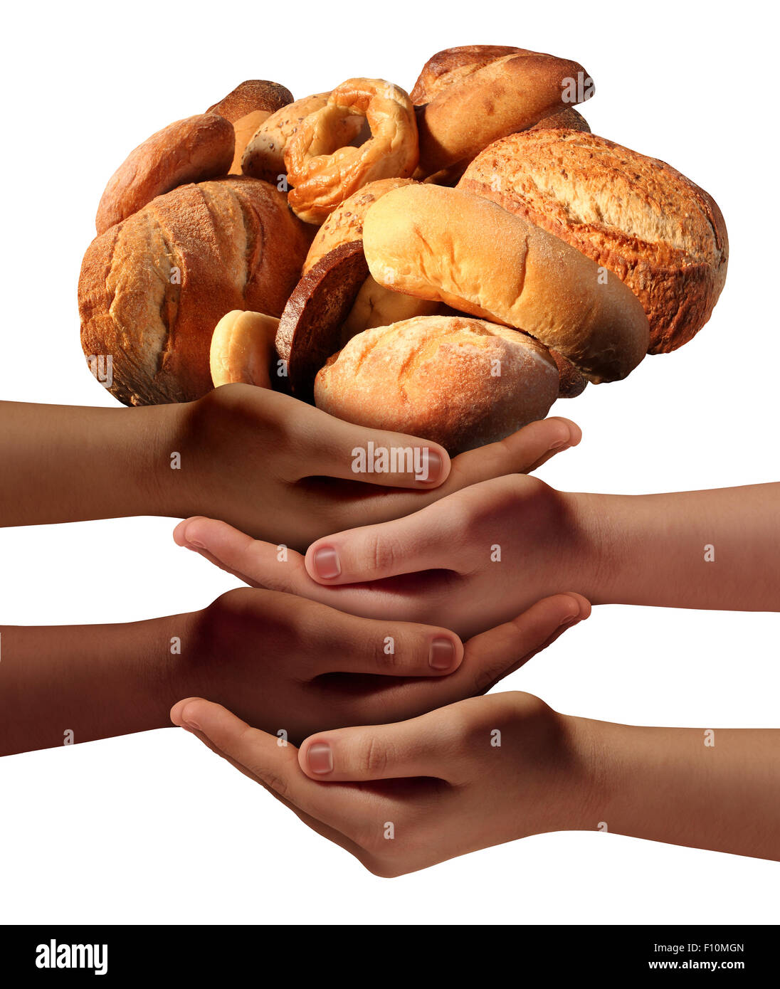 Alimentar a los pobres la ayuda comunitaria concepto con un grupo de manos caritativas que representan a los diversos Imagen De Stock