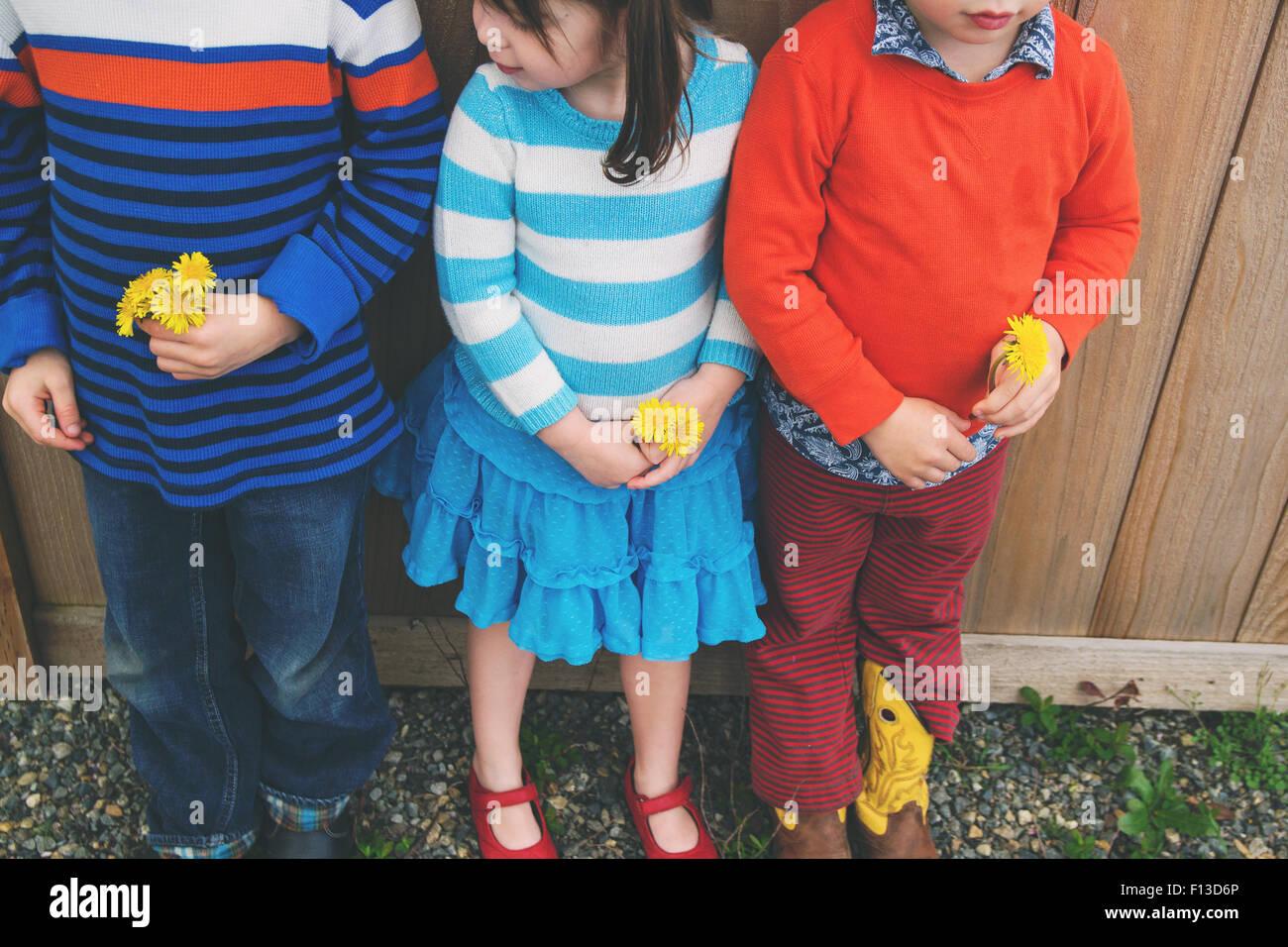 Tres niños de pie en una fila, sosteniendo flores Imagen De Stock