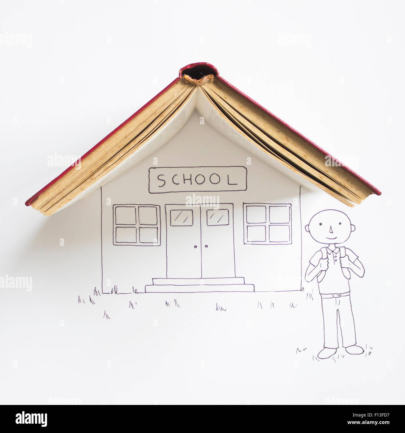 Dibujo conceptual de un muchacho de pie fuera de la escuela Imagen De Stock