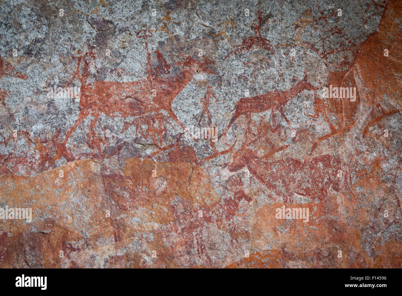 Las figuras humanas y la fauna representada en San bushman pinturas rupestres, estimada en alrededor de 2000 años Imagen De Stock