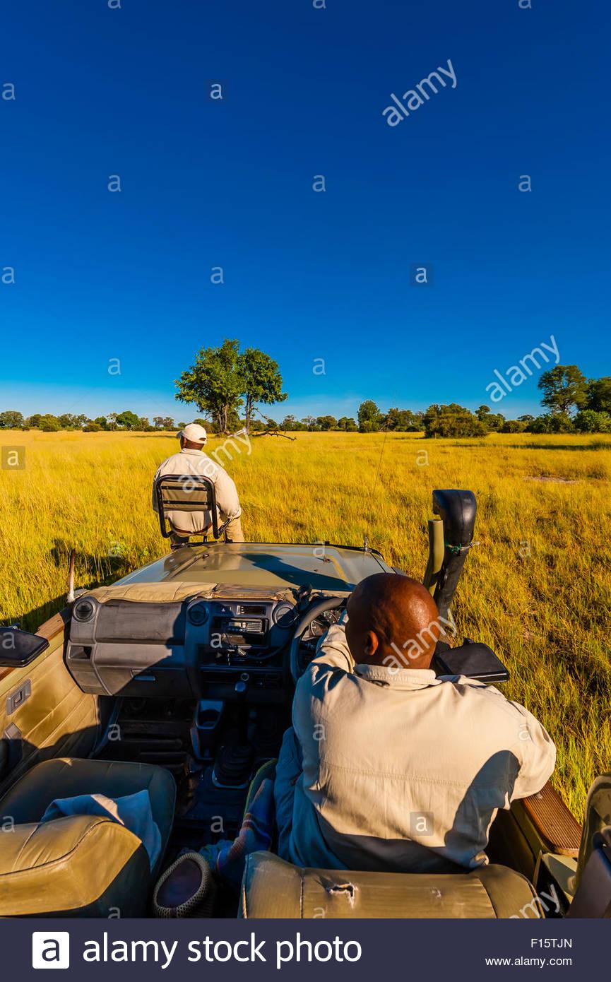 Vehículo de Safari, Kwara Camp, Delta del Okavango, Botswana. Imagen De Stock