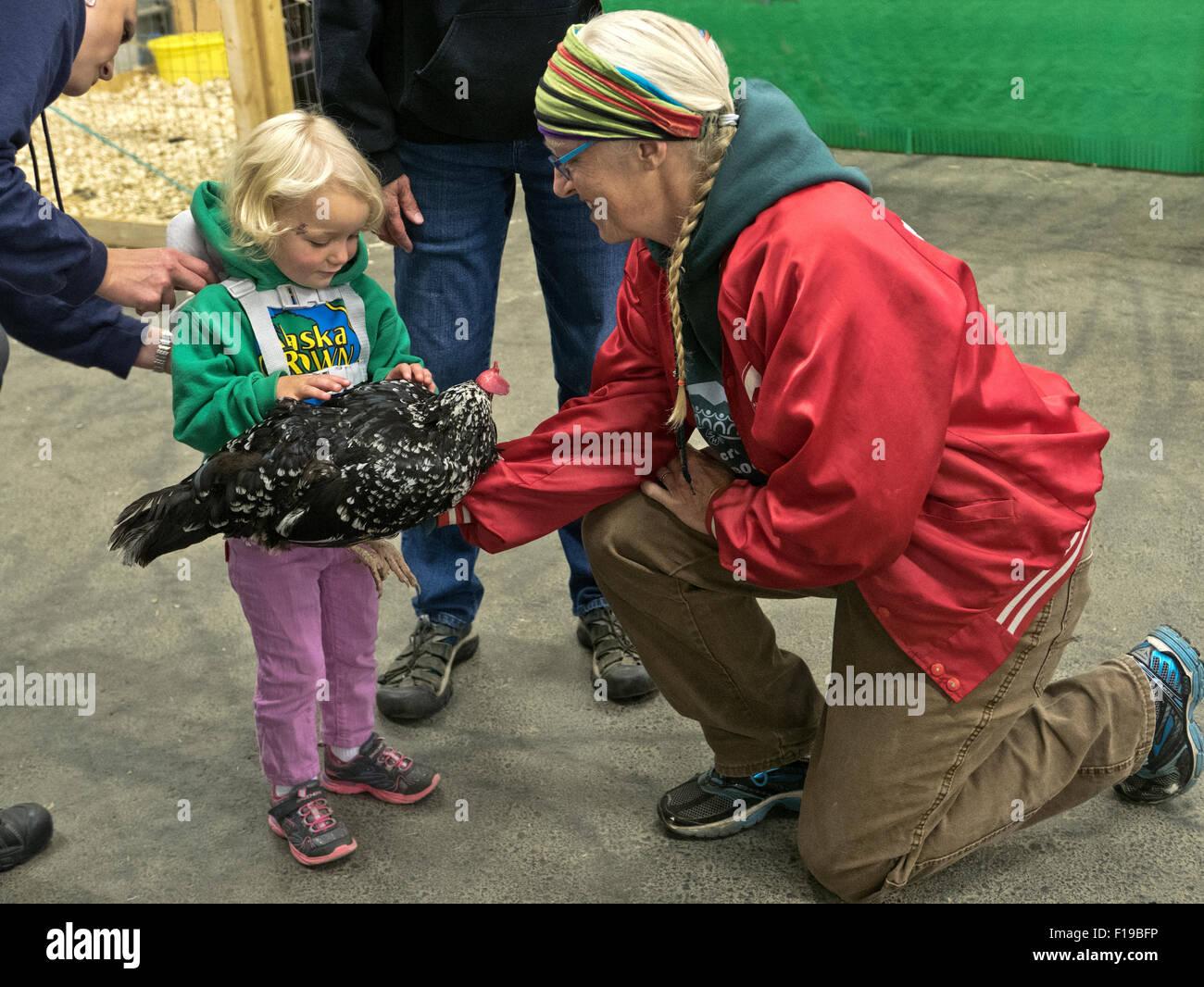 Los agricultores titulares de pollo domesticada, explicando a la chica, la Feria del Estado de Alaska. Imagen De Stock