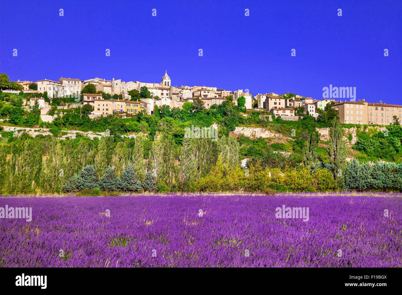 Impresionante sault village, vista con campos de lavanda,provence,Francia. Imagen De Stock