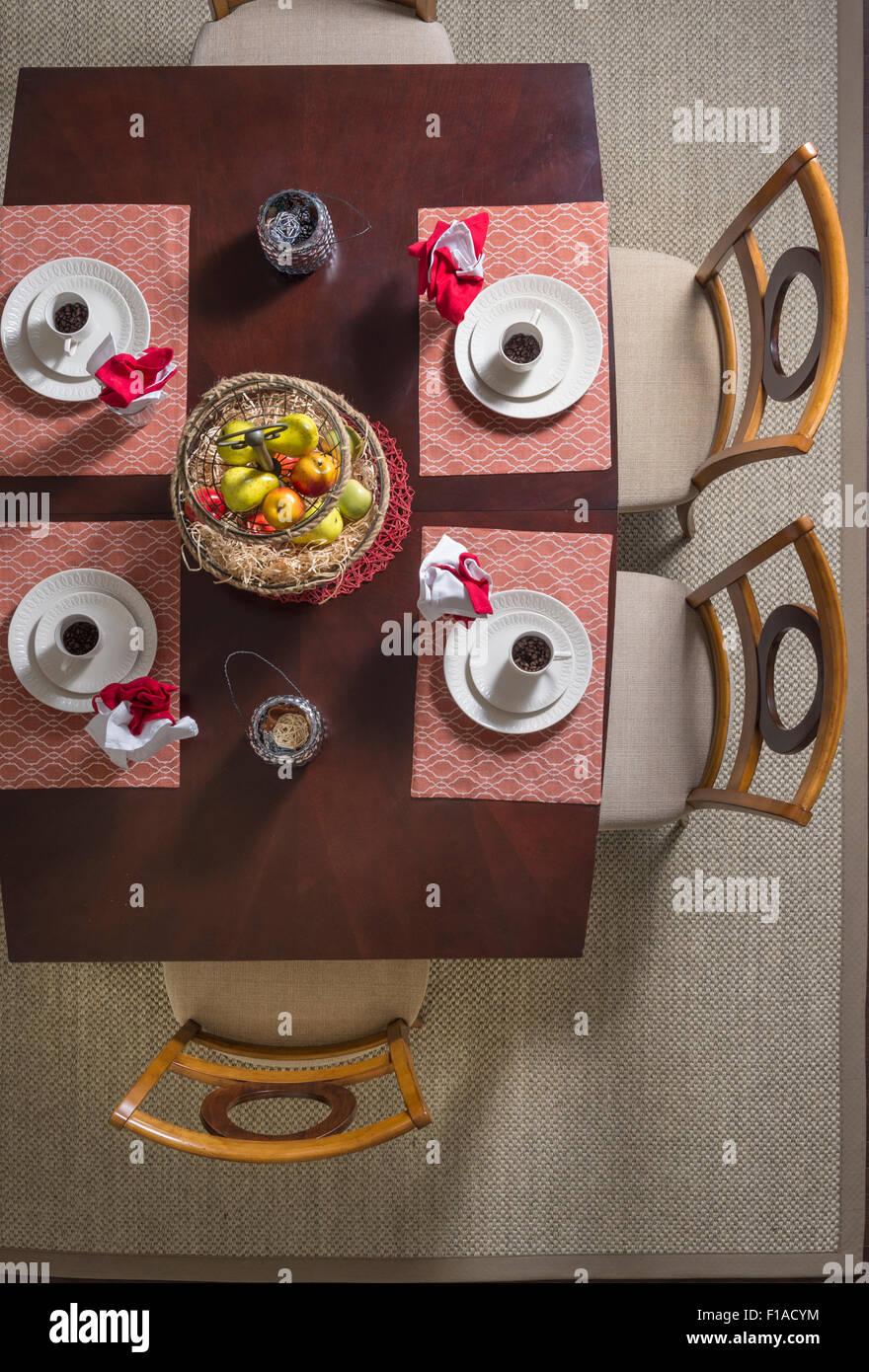 Vista aérea de la mesa de comedor Imagen De Stock